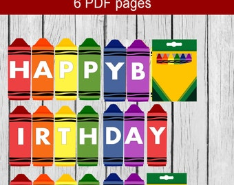 Crayon Banner, Printable Crayon Banner, Crayon Birthday Banner, Happy Birthday Banner Crayon Party, Crayon Birthday,Crayola Birthday Banner,