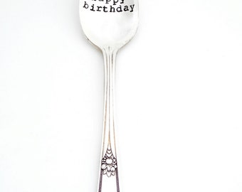 Happy Birthday Hand Stamped Teaspoon. Birthday Girl or Boy Spoon. The ORIGINAL Hand Stamped Vintage Spoons™ by Kelly Galanos, Sycamore Hill