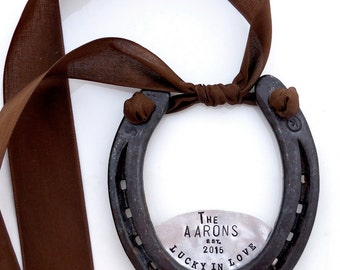 The Lucky In Love Horseshoe™. Custom Wall Decor. Personalized Door Welcome Plaque. As Seen in Southern Weddings. Equestrian Style. Rustic