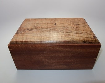 """Spalted Maple and Mahogany Keepsake Box. 10"""" x 7"""" x 4.5"""". Leather Upholstered."""