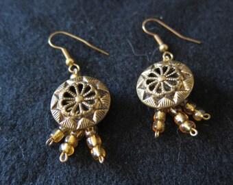Vintage Brass Button Earrings