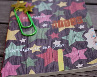 Rustic Daily Journal with jumbo paperclip bookmark, Paperback Journal, Travel Journal, Rustic Stars Journal, Idea Journal