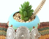 Southwestern Native inspired concho linked Matte silver metal bracelet BohoTribal stackable bracelet limited designed by Inali