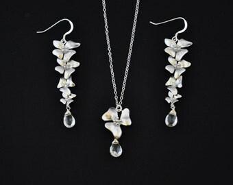 Silver Dogwood Jewelry Set with White Topaz Gemstones - Wedding Jewelry, Bridesmaids Jewelry, Dogwood Necklace, Dogwood Earrings