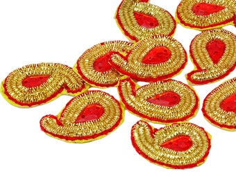 Decorative Appliques Indian Wedding Dress patch Designer Royal Appliques Crafting Sewing Small Appliques By 12 Pcs APS316I