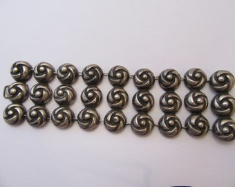 1940s Handmade Mexican Link Sterling Bracelet