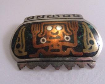 """1940s """"Los Ballesteros"""" Multi-metal Inlay Pin"""