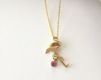 "Gold Flamingo necklace dipped in 18k gold 16"" gold chain with Birthstone Option dainty and delicate necklace beach jewelry accessory"