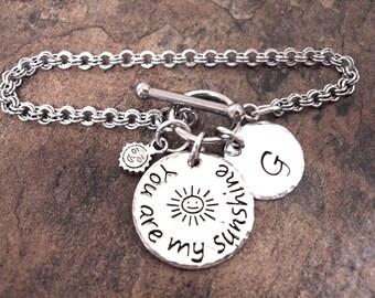 You Are My Sunshine Bracelet, Hand Stamped Charm Bracelet, Toggle Bracelet, Double Link Stainless Steel