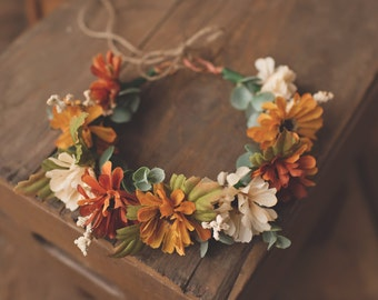 Autumn Floral Crown-Flower Crown-Fall Flower Crown-M2M Eleanor Rose-M2M Gather Dress-Photo Prop-M2M Well Dressed Wolf-M2M WDW-Halo-Fall Halo