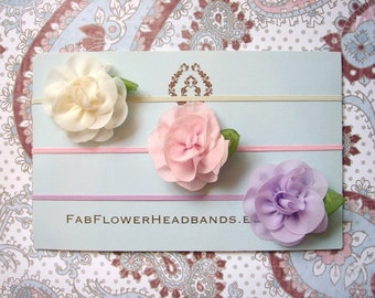 Set of 3 - Newborn Headbands - Baby Headbands - Pink Ivory Lavender Flowers - Skinny Headband