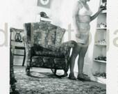 Vintage Photo, Woman in White Bra and Shorts, Bedroom, Black & White Photo, Found Photo, Old Photo, Snapshot, Vernacular Photo  *Etsy002.jpg