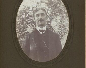 Vintage Photo, Antique Cabinet Photo, Elegant Man, Black & White Photo, Victorian Photo, Studio Portrait, Found Photo