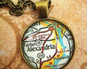 Custom Map Jewelry, Alexandria Virginia Vintage Map Pendant Necklace, Personalize, Map Cuff Links, Groomsmen Gifts Ideas