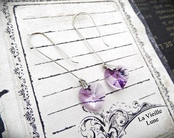 Long Amethyst Heart Earrings, Crystal Valentine Earrings in Sterling Silver, Heart Jewelry, Fine Jewelry