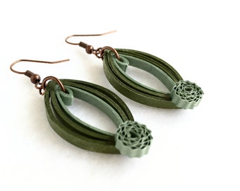Olive green paper quilling marquis earrings