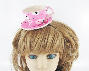 Ready to Ship! Textile Teacup Fascinator-Playing Cards on Pink *Alice in Wonderland's Mad Hatter Tea Party!*