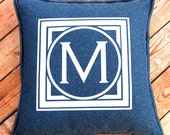 Monogram Pillow, Denim Pillow, Personalized Pillow, Custom Gift, Housewarming Gift, Wedding Gift, Denim Bedding, Blue Pillow, Letter Pillow