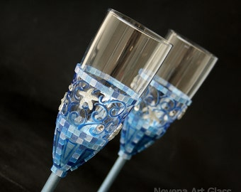 Wedding Glasses, Beach Wedding Glasses, Starfish Glasses, Mosaic Glass, Hand Painted, Set of 2