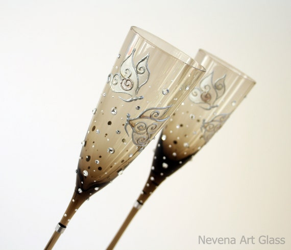 Brown Glass Wedding Champagne Glasses  Butterfly, Hand Painted Set of 2