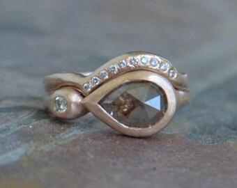Rose Cut Diamond Enagement Ring Wedding Set, Diamond Shadow Band, Recycled Rose Gold