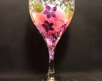 Hand Painted Wine Glass - Pink Floral-Trailing Wisteria-Violets