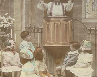 French Vintage Postcard - Cute Children in Church 'May Peace Reign Amongst You'