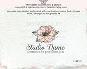 1403-3  single peony logo, Magnolia logo, floral logo, illustrated logo, magnolia illustration, business watermark , by princessmi