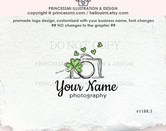 1188.3 Clover camera logo, photography clover logo , Watermark Design, photographer business logo branding by princessmi