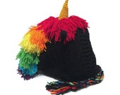 Black Rainbow Unicorn Hood Crochet Pixie Hat Unicorn Cosplay Hood Golden Horn Unicorn Hat Winter Animal Hood Kawaii Cosplay Hat
