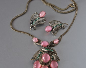 40's Czech Necklace and Earrings Filigree and Satin Glass Pink and Green Spring Lilies Set