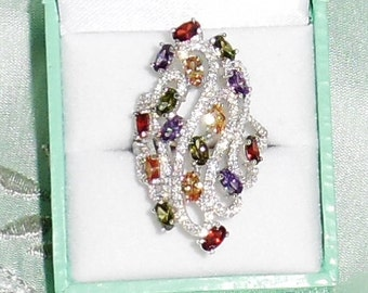 45 TCW Natural Topaz, Citrine, Amethyst etc. gemstones, Brilliant CZs, 14kt White gold Ring Size 9