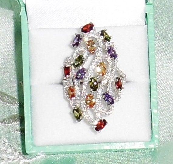 45 TCW Natural Topaz, Citrine, Amethyst etc. gemstones, Brilliant CZs, 14kt White gold Ring Size 9