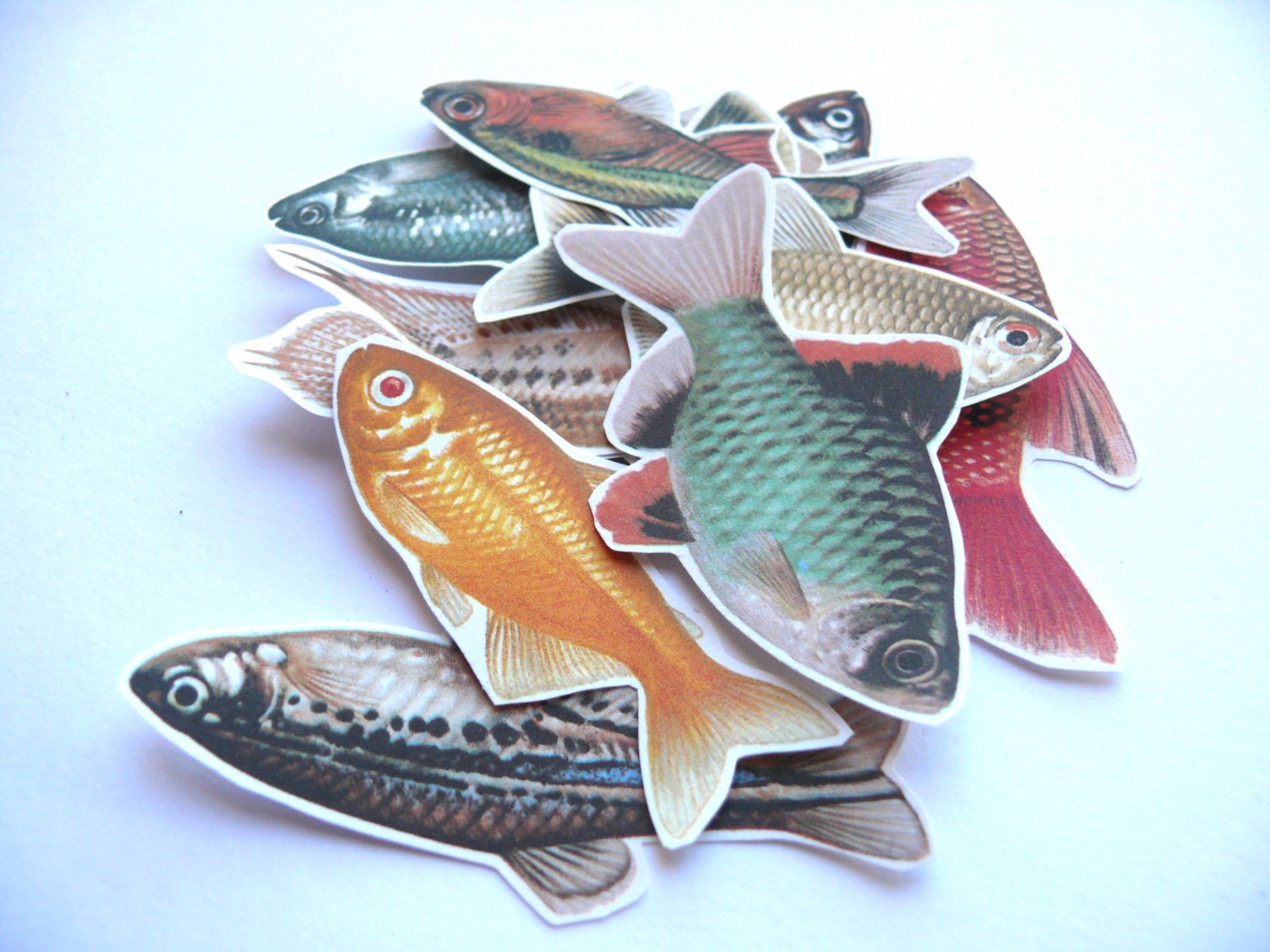 10 Fish Die Cut Clippings Vintage Paper Cut Outs For