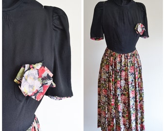 1930s Crepe & floral silk day dress / 30s puff sleeve gathered skirt - XXS XS