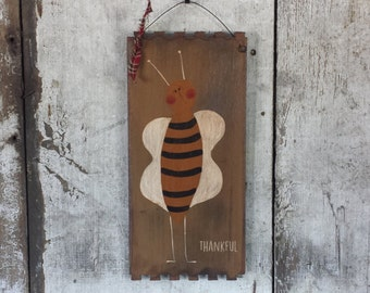Primitive Country Bee Thankful Rustic Decor