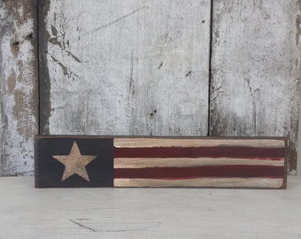 Primitive Flag Shelf Sitter,Americana,Primitive Country Flag,Primitive Flag,Stars and Stripes,Rustic Flag,Patriotic,Wood Flag,4th of July
