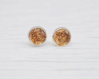 Gold Glitter Earrings, 8mm Stud Earrings, Gold Stud Earrings, Glitter Earrings, Nail Polish Jewelry, Faux Plugs, Silver Studs, Gold Studs