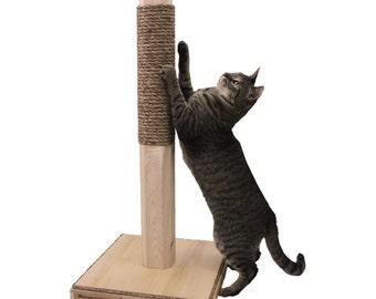Vertical Cat Scratching Post - Wood & Rope Scratcher - 28 Inch Cat Post