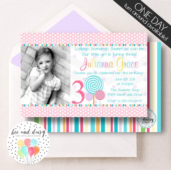 Lollipop Birthday Invitation, Lollipop Invitation, Lollipop Party, Girl First Birthday, Girl Birthday, Lollipop Invite, Candy Party