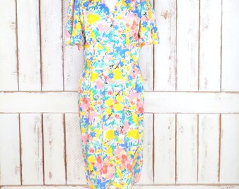Vintage Nora Noh colorful floral silk midi dress/flutter sleeve dress/yellow/blue green silk dress