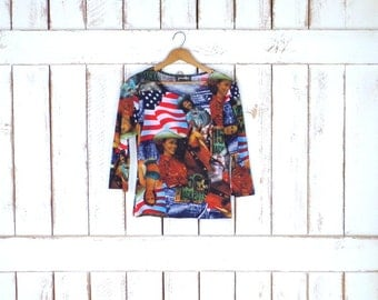 Vintage 90s Jessica Max USA western print stretchy pullover top/USA flag/America/patriotic tshirt/cowgirl tee/4th of July