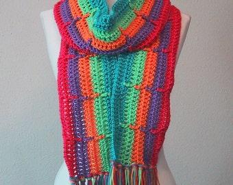 Long Scarf Brite Rainbow Colors - Hand Crocheted - Soft Acrylic Yarn - Handmade - Ladies & Teens - Ready to Ship