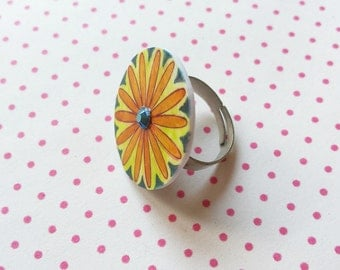 Orange and blue flower handmade ring with Swarovski element adjustable in size great summer gift - free shipping