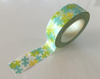 Washi tape - Green Puzzle - 15mm Wide - 10meters  WT762