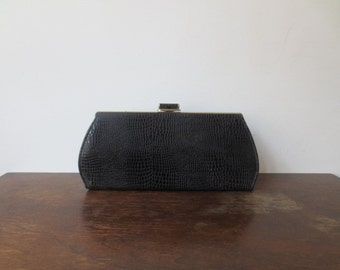 Vintage '60s Long Skinny Black Faux Alligator Purse