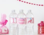 RESERVED Pink Sprinkle Animal Cookie Water Bottle Wrappers