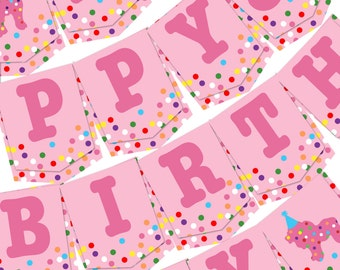 Happy Birthday Bunting Banner Custom Age Circus Animal Cookie Sprinkle Confetti Party Sign