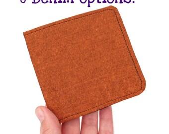 Orange Denim Wallet,Vegan ID Card Case,Super Thin Wallet,Non Leather Bifold,Colorful Billfold,Bright Cloth Wallet,Modern Men Wallet
