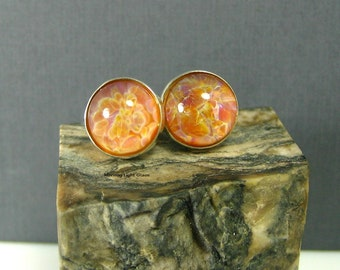 Lampwork Glass Earring Studs - Plumeria Dream - Boro Frit Implosion Cabochon and Sterling Silver 10mm